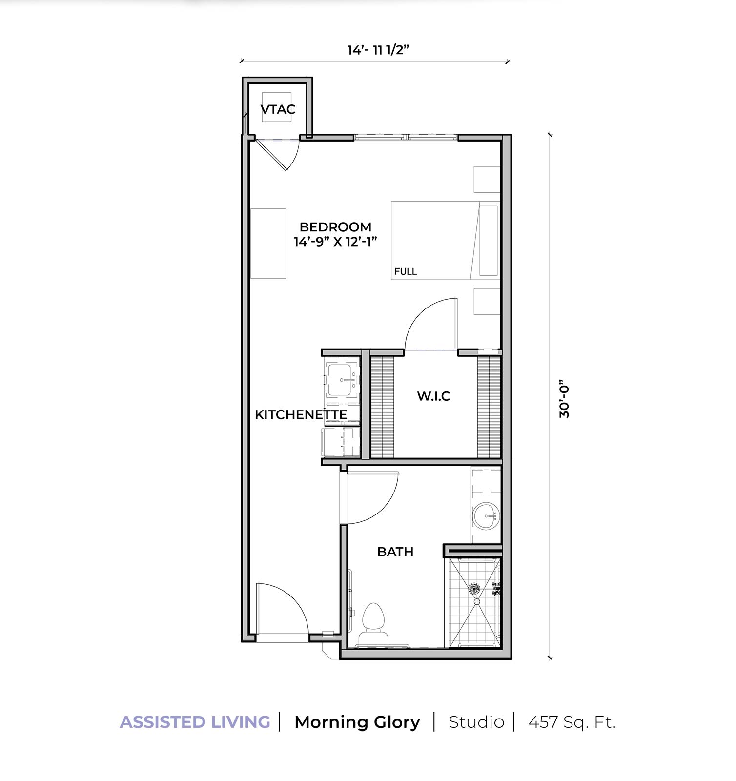 Assisted living Morning Glory studio apartment floor plan