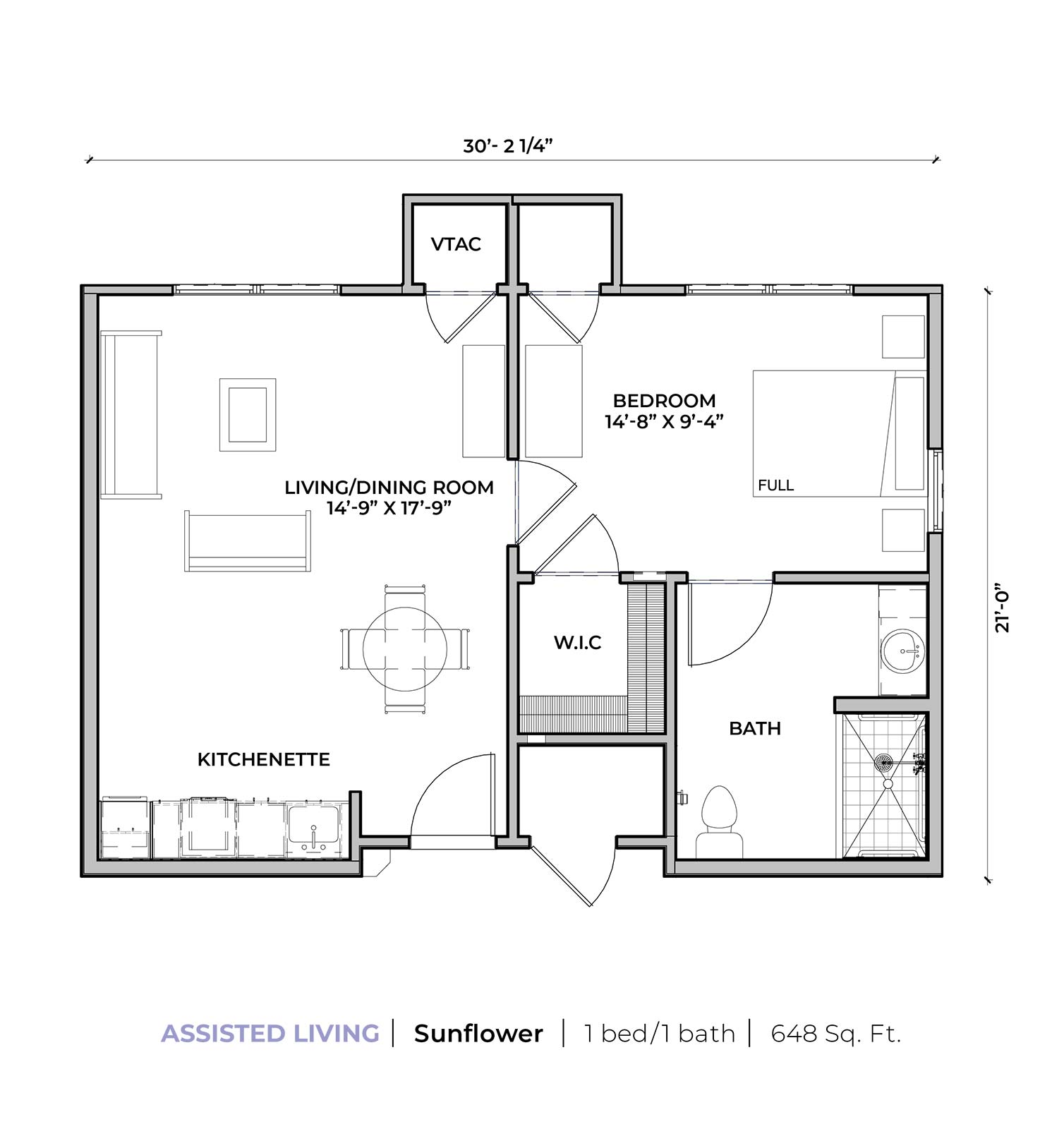 Assisted living Sunflower one-bedroom one-bathroom apartment floor plan