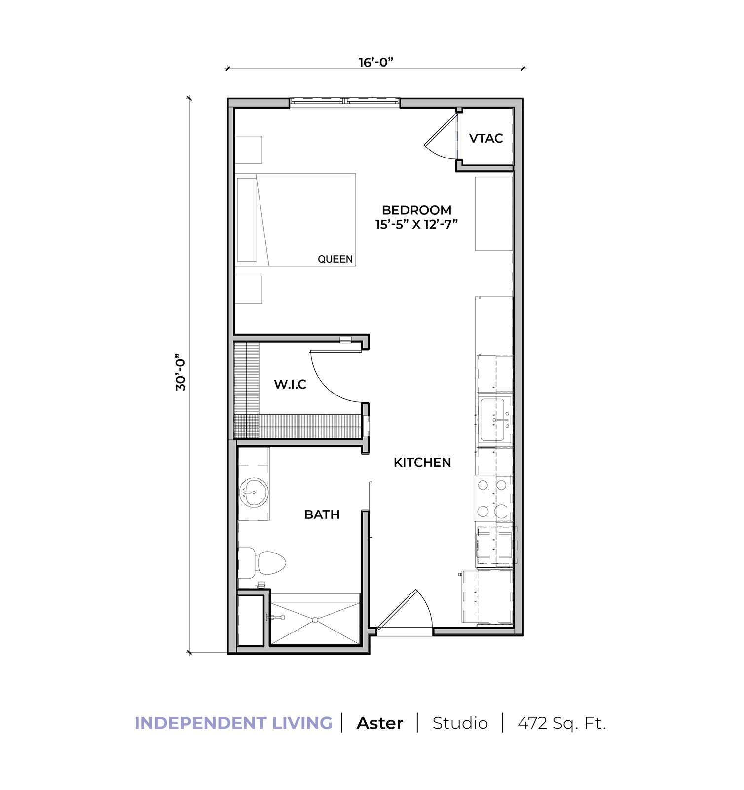 Independent living Aster studio apartment floor plan