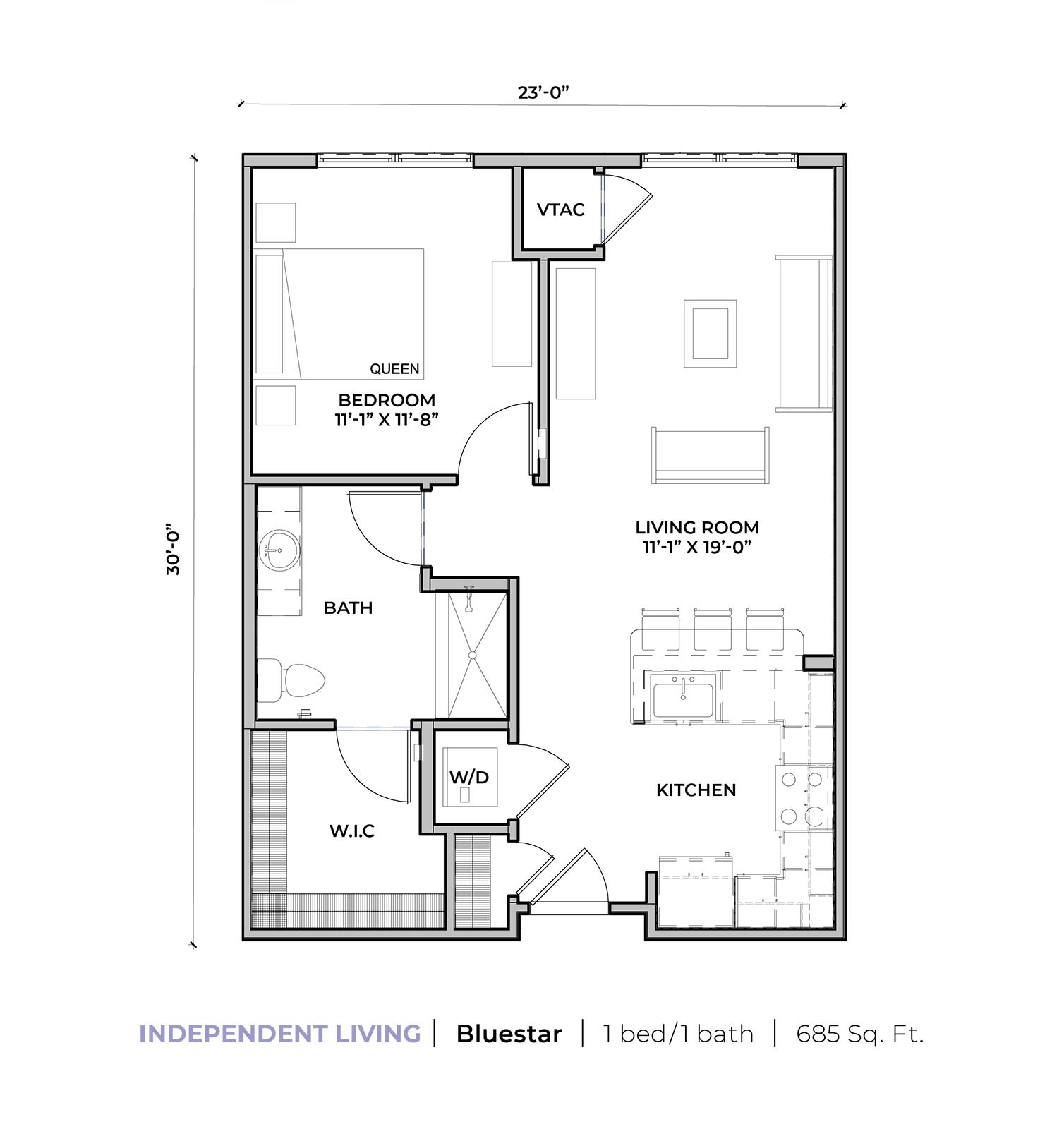 Independent living Blue Star one-bedroom one-bathroom apartment floor plan