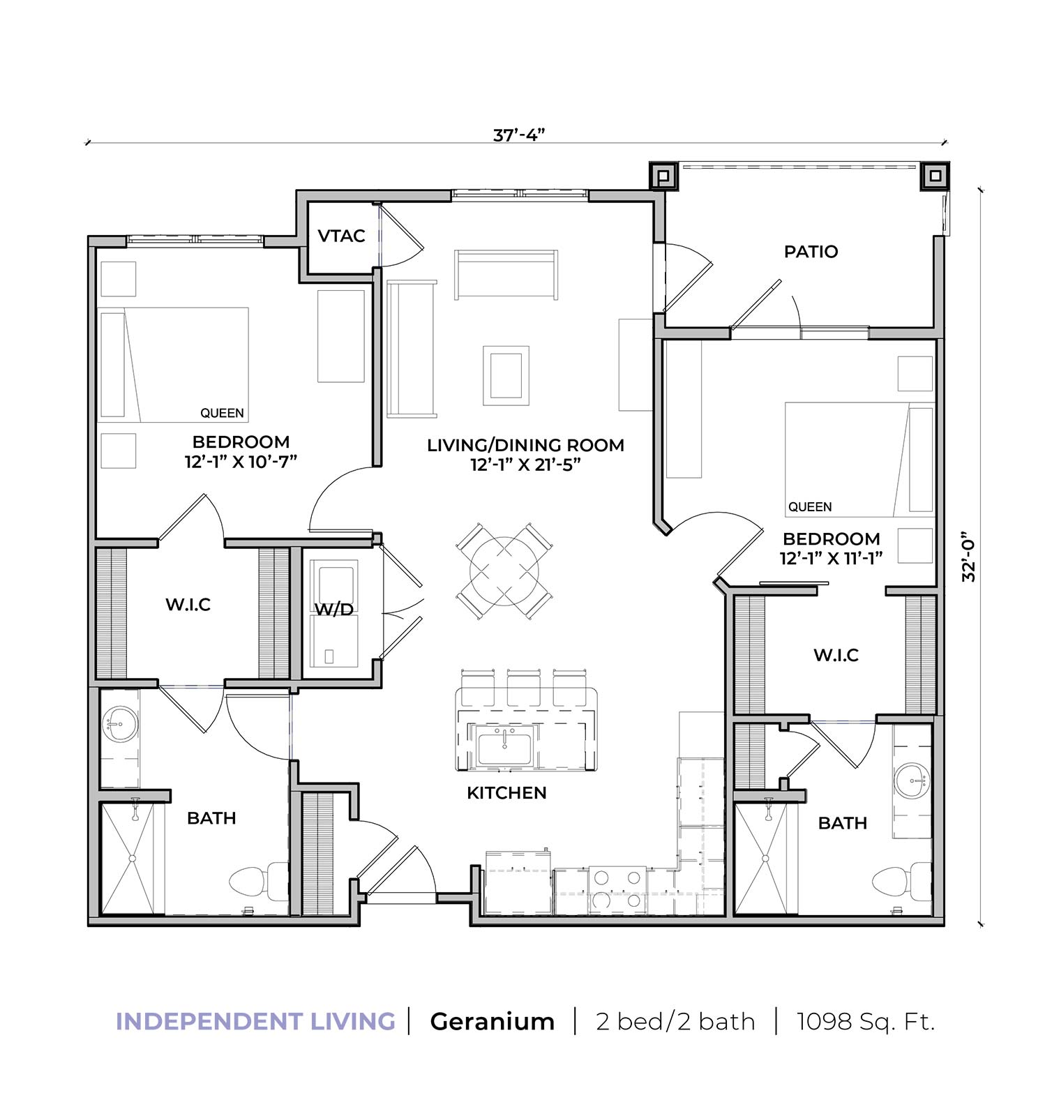 Independent living Geranium two-bedroom two-bathroom apartment floor plan