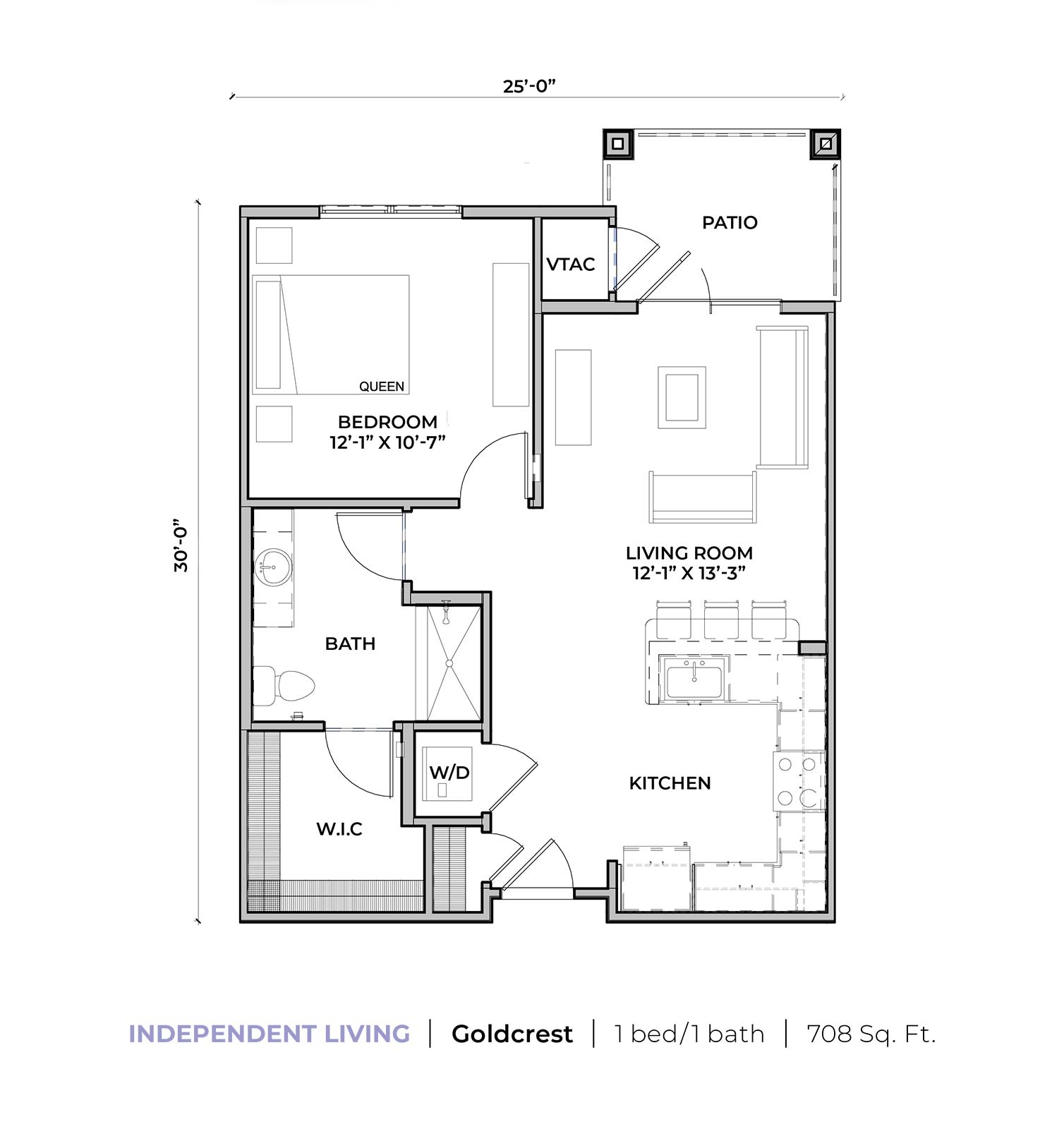 Independent living Goldcrest one-bedroom one-bathroom apartment floor plan
