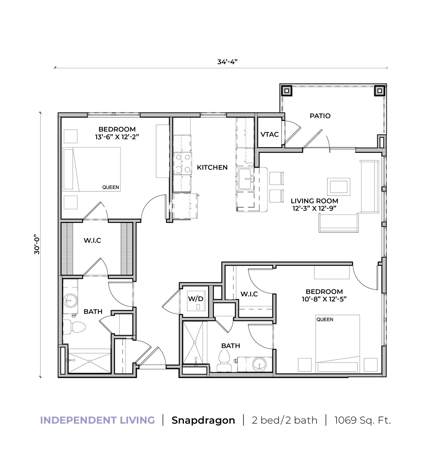 Independent living Snapdragon two-bedroom two-bathroom apartment floor plan